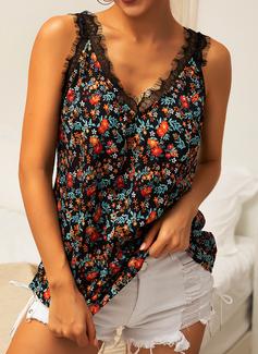 Impresión Floral Patchwork Encaje Sin mangas poliéster Escote en V Camisetas sin mangas Blusas