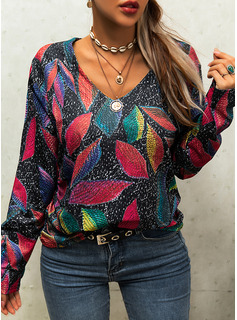 V-Neck Casual Print Sweaters