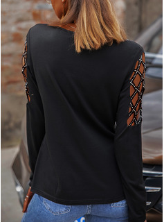 Figure Print Sequins Cold Shoulder Long Sleeves Casual Sexy Blouses