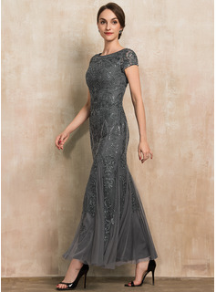 Trumpet/Mermaid Scoop Neck Ankle-Length Tulle Lace Sequined Evening Dress With Beading Sequins