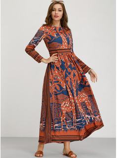 Gasa con Impresión Maxi Vestido