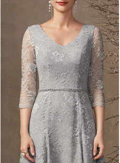 A-Line V-neck Knee-Length Lace Mother of the Bride Dress With Beading Sequins