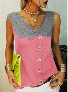 Color Block V-Neck Sleeveless Button Up Casual Tank Tops