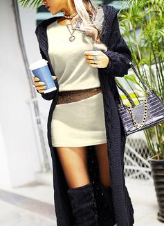 Paillettes Aderente Maniche lunghe Mini Casuale Vestiti di moda