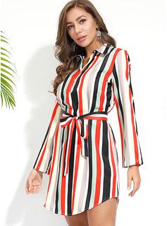 縞模様の Aラインワンピース 3/4袖 ミディ カジュアル シャツワンピース ファッションドレス