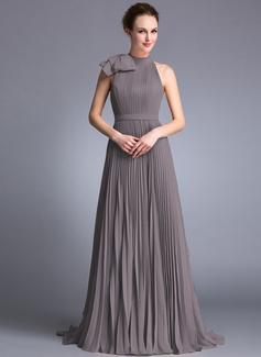 Aライン/プリンセスライン2 スクープネック スウィープ・トレーン シフォン イブニングドレス とともに 弓 プリーツの