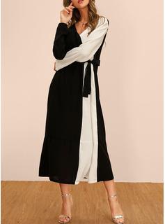 Midi Escote en V poliéster color-block Mangas Largas Vestidos de moda