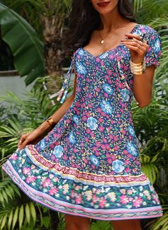 Floral Impresión Vestido línea A Manga Corta Midi Boho Casual Vacaciones Patinador Vestidos de moda