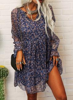 Blumen Druck Etuikleider Lange Ärmel Mini Lässige Kleidung Tunika Modekleider