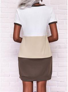 Trozos de color Vestidos sueltos Manga Corta Mini Casual camiseta Vestidos de moda
