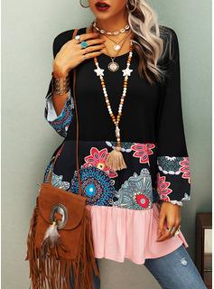 Color Block Blomster Print V-hals Lange ærmer Casual Skjorter