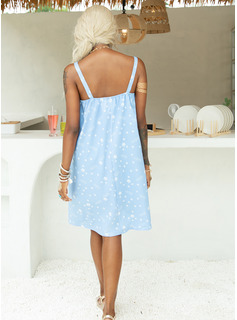 Above Knee Strap Polyester Print Sleeveless Fashion Dresses