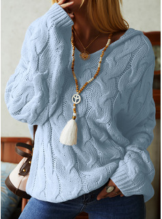 Hooded Casual Solid Cable-knit Chunky knit Sweaters