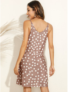 PolkaDot Shift Sleeveless Mini Casual Vacation Type Dresses