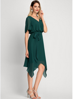 A-Line V-neck Asymmetrical Chiffon Cocktail Dress