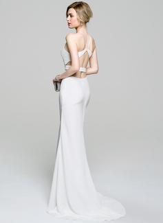 Trumpet/Mermaid Scoop Neck Sweep Train Stretch Crepe Evening Dress