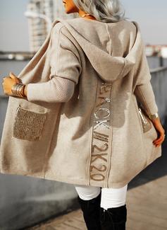 Hooded Fritids Paljetter Solid Fickor Tröjor