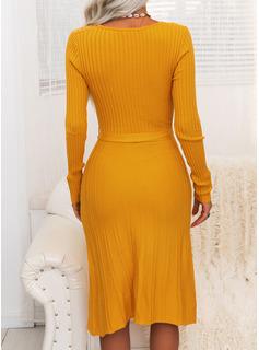 Solid Lange ærmer Casual Lang Stram Sweaterkjole Mode kjoler