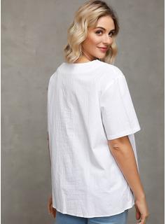 Sólido Manga corta Algodón Escote en V camiseta Blusas