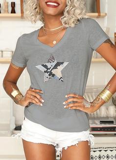 Print V-hals Korte ærmer Casual T-shirt