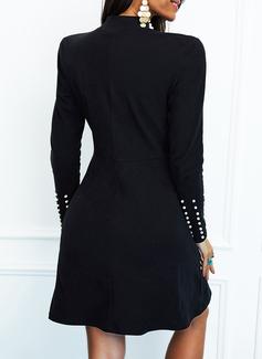 pailletter Solid Perlebrodering Skede Lange ærmer Mini Casual Mode kjoler