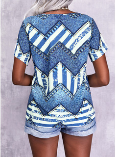 Print V-hals Korte ærmer Casual Shirt Skjorter