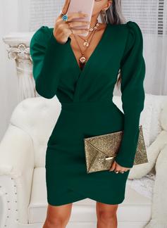 Solid Åtsittande Långa ärmar Puffärmar Mini Den lilla svarta Party Elegant Modeklänningar