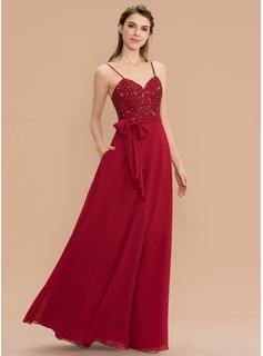 A-Line Sweetheart Floor-Length Chiffon Sequined Bridesmaid Dress With Bow(s) Pockets