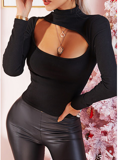 Solid High Neck Long Sleeves Sexy Blouses