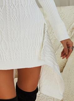 Dolcevita Casuale Lungo Solido Cavo Knit Maglioni