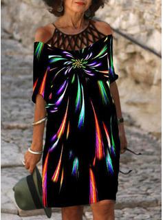 Impresión Vestidos sueltos Mangas 1/2 Midi Casual Túnica Vestidos de moda