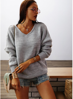 V-Neck Casual Solid Chunky knit Sweaters