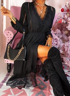 Spets Solid A-linjeklänning Långa ärmar Midi Den lilla svarta Fritids skater Modeklänningar