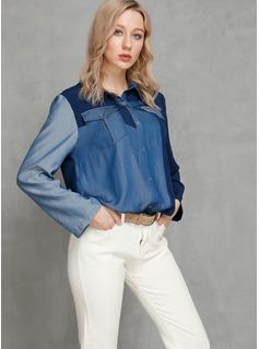 Trozos de color Manga larga Algodón Solapa Camisas Blusas Blusas