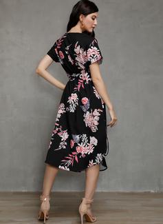 Cubierta Cuello en V poliéster Vestidos de moda