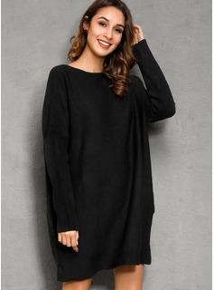 Cuello redondo poliéster Mangas Largas Sólido/Punto Grueso/Punto De Cable Vestido de Suéter Vestidos de moda