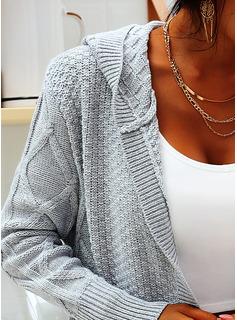 Cappuccio Casuale Lungo Solido Cavo Knit Maglioni