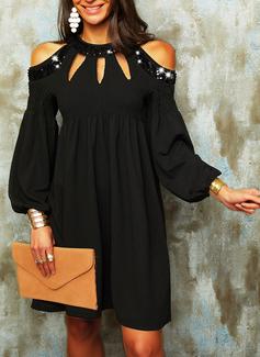 Paillettes Solido Abiti dritti Maniche lunghe Mini Piccolo nero Elegante Tunica Vestiti di moda