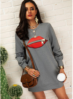 Print Skiftekjoler Lange ærmer Mini Casual Sweatshirts Mode kjoler