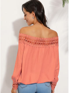 Beaded Lace Solid Off the Shoulder Long Sleeves Casual Elegant