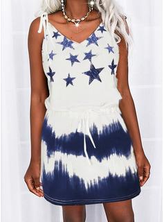Tie Dye Print Sheath Sleeveless Mini Casual Type Dresses