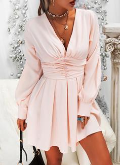 Solid Kjole med A-linje Lange ærmer Mini Elegant skater Mode kjoler