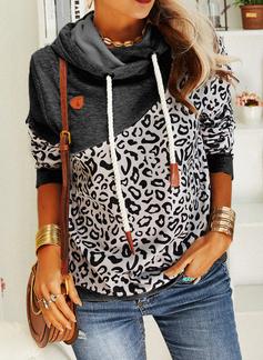 Leopard Långa ärmar Hoodie