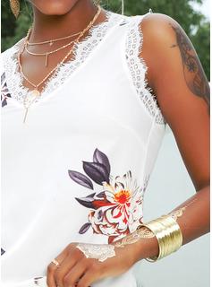 Floral Encaje Impresión Cuello en V Sin mangas Casual Camisetas sin mangas
