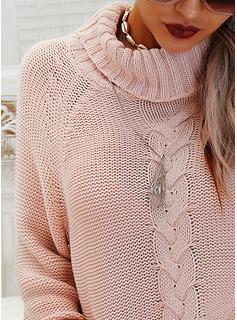 Cuello De Tortuga Casual Sólido Punto De Cable Suéteres