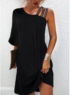 Sólido Vestidos sueltos Mangas 3/4 Mini Pequeños Negros Elegante Vestidos de moda