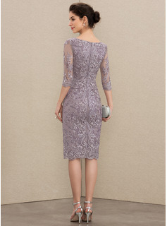 Sheath/Column Scoop Neck Knee-Length Satin Lace Cocktail Dress With Beading Bow(s)