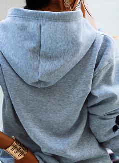 Animal Print Hoodie Long Sleeves Casual Blouses