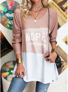 Figure Color Block Print V-Neck Long Sleeves Casual T-shirt