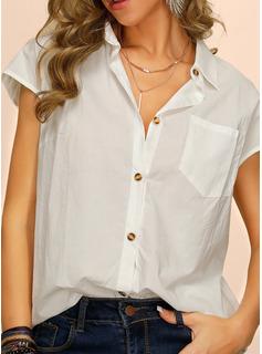 Manga corta Algodón Solapa Camisas Blusas Blusas